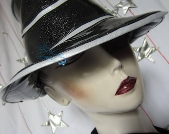Hat-retro-futuristic rain glitter black and pearly white, 58-59 cm / L.
