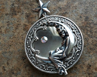 Moon Goddess Silver Locket Necklace-EXCLUSIVE DESIGN Only by Enchanted Lockets