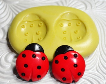 LADYBUG DUO Flexible Silicone Rubber Push Mold for Resin Wax Fondant Clay Ice