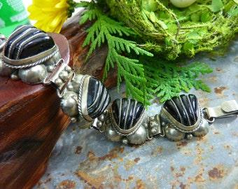 VINTAGE BLACK ONYX deep heavy Mexican Sterling Bracelet Taxco