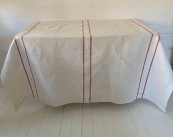 NTS1606 Red Stripe Tablecloth Linen
