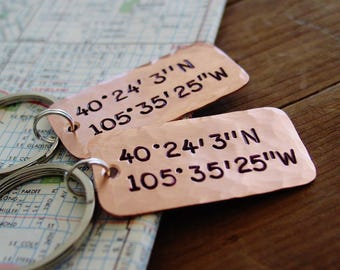 Latitude Longitude Keychain Set of 2, Couples Gift Set, Copper 7th Anniversary Gift,GPS Coordinates Keychain,Long Distance Relationship, LDR