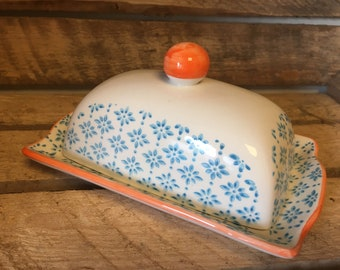 Butter Dish - Blue and Orange