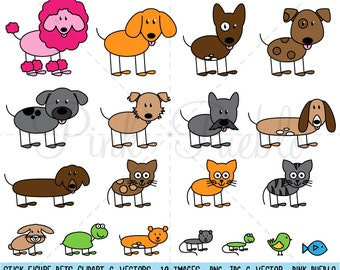 Stick Figure Pets Clipart Clip Art Vectors, Stick Family Clip Art Clipart Vectors - Commercial and Personal Use