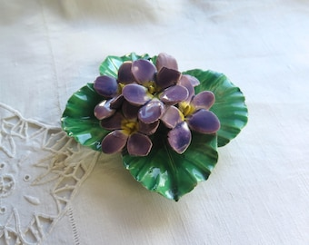 Antique French Porcelain Flower Memorial Decoration Purple Violets