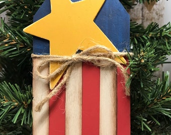 Flag ornament - primitive flag - Free Shipping - Red White & Blue stars  4th of JULY DECOR- patriotic- folk art- flag decor-primitive decor