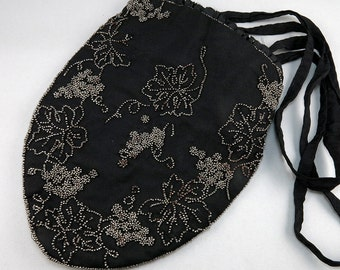 Antique Evening Purse Black Purse Old Textiles Cut Steel Beads Evening Bag Antiques Collectibles