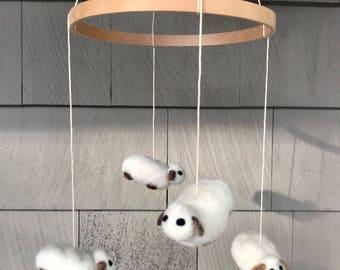 Needle felted Animal Baby Nursery Mobile