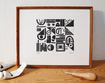 pattern 2 · original linocut · Limited Edition · DIN A4