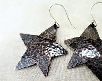 Copper Earrings ~ Dangle Earrings ~ Star Earrings ~ Lightweight Earrings ~ Mixed Metal Earrings ~ Lightweight Earrings ~ Drop Earrings