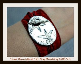 Silk Wrap Bracelet Nature Lover Gift Sweet Hummingbirds Artisan Silk Wrap Bracelet