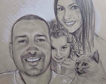 Family portrait , family sketch , pencil sketch, portrait from photo, handmade portrait