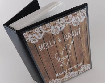 Wedding Photo Album 100 4x6 picture Rustic Engagement Anniversary PRINTED wood and Lace Personalized Bridal Shower Gift 375