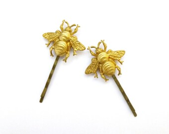 50% OFF SALE Bee Bobby Pins Bumblebee Hair Clips Gold Insect Barrette Bug Nature Garden Woodland Girls Accessories Womens Gift Vintage Style