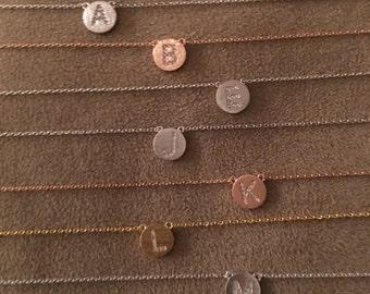 Initial Necklace, letter necklace, monogram, initial pendant, single initial, disc initial, monogram necklace