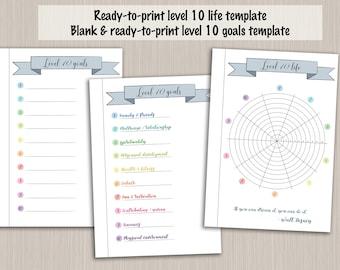 Bullet journal printable level 10 life planner template - digital PDF bujo bullet journal pages - bullet journal level up wheel of life
