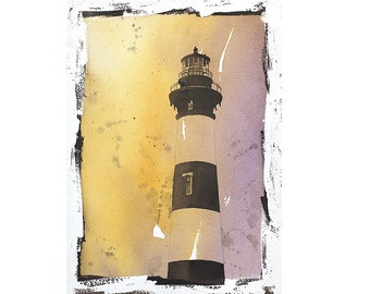 Bodie Island lighthouse- Outer Banks, North Carolina.  Lighthouse art.  Lighthouse painting, fine art watercolor, landscape print home decor