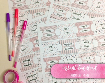 Printable Bible Tabs, Journaling Bible Tabs, Hand Lettered Bible Tabs - Soft Pinks