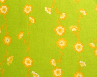 Free Spirit, Valorie Wells, Sole,  Flower Vine Stripe in Lime Green- 1 Yard Clearance