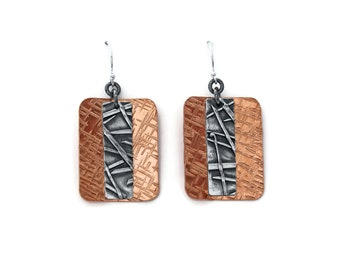 Copper and Silver Earrings, Silver and Copper Earrings, Hammered Copper, Rectangle Earrings, Copper Dangle Earrings, Rustic Jewelry