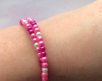 Expandable ladies bracelet, glass beads, handmade, pink or purple