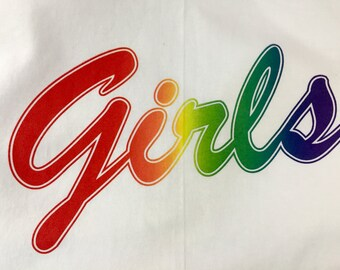 "Rainbow Printed ""Girls"" T-Shirt"