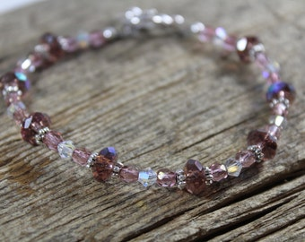 Pink and Purple Crystal Bracelet / Sparkly Bracelet / Gifts for Her / Gifts for Women / Bridesmaid Gifts / Pink Bracelet / Purple Bracelet
