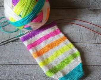 DYED TO ORDER: Hand Dyed 12 Color Self Striping Sock Yarn - Let's Be Unicorns - Neon Rainbow Colors