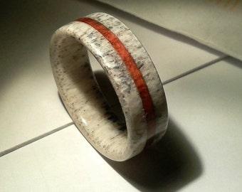 Deer Antler Ring with Padouk Wood, Wedding Ring, Engagement Ring, Deer Antler Ring, Wood Ring, Mens Ring, Men Ring, Bone Ring