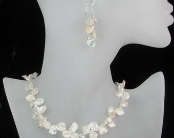 "18"" Handmade White Keishi Pearl Necklace & Earrings"
