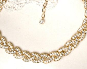 PRISTINE TRiFaRi Gold Rhinestone Necklace, Art Deco Bridal Necklace,Pave Link Vintage Wedding Jewelry Old Hollywood Glamour Statement Choker