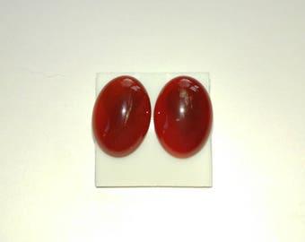Natural Carnelian oval earrings