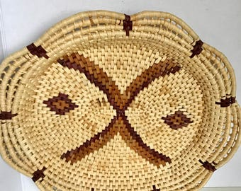 Vintage woven rattan coil basket/tray