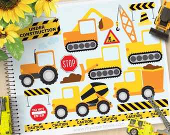 Construction Vehicles Clipart, transportation clipart, delivery truck, cement mixer, Personal and Commercial Use Vector Clip Art, SVG Files