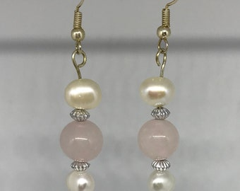 Reiki-infused Rose Quartz/Pearl earrings