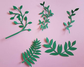 Assorted Greenery, Paper Leaves, Assorted Green Leaves, Backdrop Leaves, Flower and Leaves
