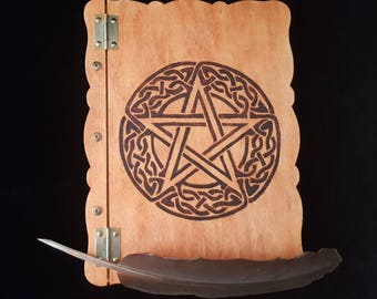 Celtic Pentagram Book of Shadows screw post binder BOS Pagan Wicca Witchcraft Pentacle pyrography