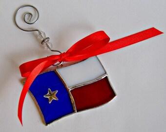 Texas Flag Suncatcher Stained Glass Texas Art Christmas Ornament
