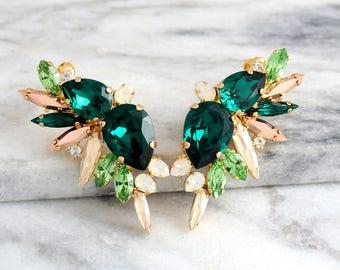 Emerald Earrings, Bridal Climbing Earrings, Emerald Ear Cuff Earrings, Bridal Climbing Earrings, Green Earrings, Swarovski Emerald Earrings