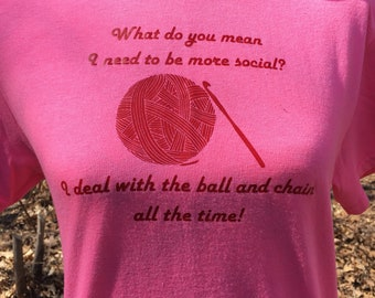 Crochet Tshirt - Antisocial Crochet Saying - Gifts for Crocheters - Crochet Jokes - Funny Gift for Her - Crochet Gifts - Gift for Crafter