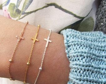 Cross jewelry for women, Sideways Cross Bracelet, Sterling cross bracelet, layering bracelet, silver cross bracelet, Sterling silver 925