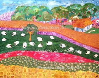"""Slavic Naive Art """"My Summer Country House"""""""