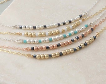 Sister Morse Code Necklace, secret code bead bar necklace, morse code jewellery, gift for sister or best friend
