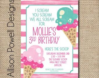 Ice Cream Birthday Party Invitation - Print your own