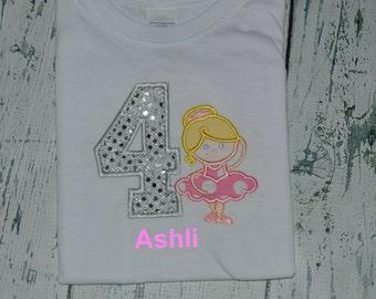 Personalized Ballerina Birthday Shirt  Monogrammed 1, 2, 3, 4, 5, 6 birthday
