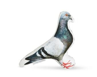 Printed Pigeon Pillow - Pigeon Home Decor - Bird Watching - Bird Home Decor - Right Facing Pillow - Small Accent Pillow - Bird Pillow Decor