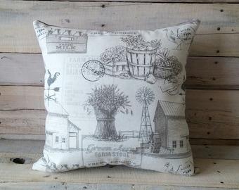 Farm Fresh Pillow, Farmouse Decor, Country Pillow, Pillow Cover, Rustic Pillow, Decorative Pillow, Throw Pillow, Housewarming Gift