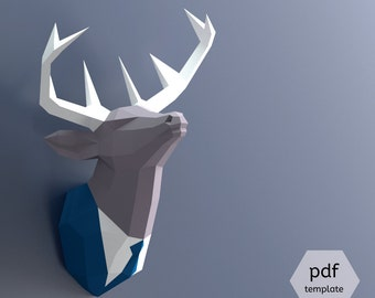 Papercraft Deer Head, Make Your Own Trophy, Paper Trophy, Pdf Papercraft, Stag Head, Deer Head Wall Mount, Paper Animal Head, Deer In Suit