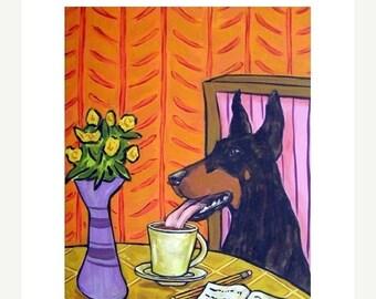 25% off DOBERMAN pinscher, doberman art, doberman print, coffee art, wall art, coffee gift, modern dog art, 11x14 print