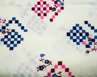 1960s Mod Floral Jersey Knit Fabric - 1.63 Yards x 43 3/4 Inches Wide - Pink & Blue Geometric with Flowers - Ivory Cotton Blend - 42765